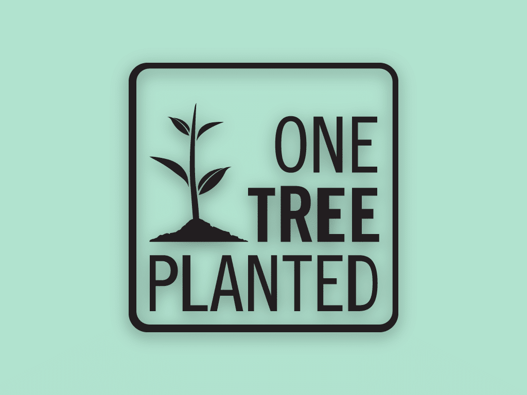 nonprofit charity logo of one tree planted on a green background